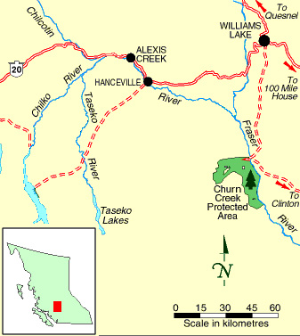 Map of area surrounding Churn Creek Protected Area